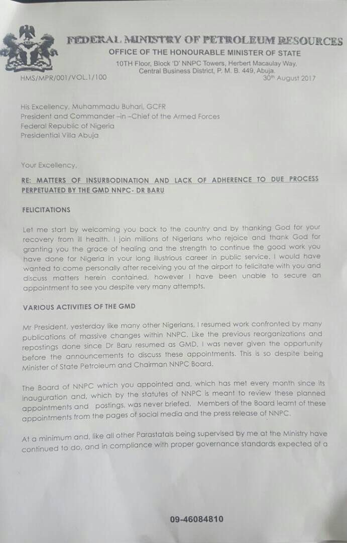 Matters of insubordination and lack of adherence to due process perpetuated by the GMD NNPC-Dr Baru – Ibe Kachikwu's Full Letter To President Buhari.