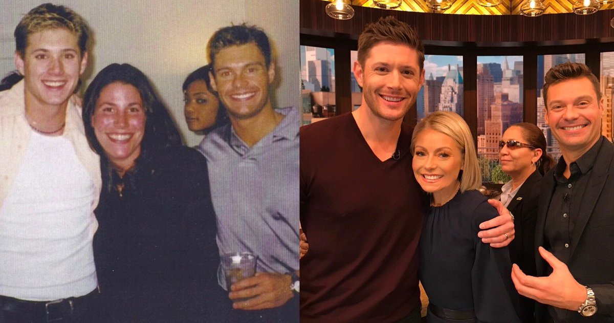 My old roomie @JensenAckles and I, then and now. He still gets the girl and I still get the side eye. #kellyandryan