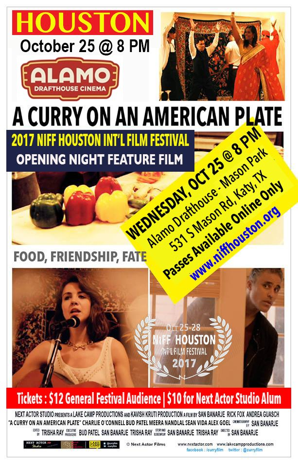 Sat. 10/14: Writer & Producer Trisha Ray, Film Director San Banerje talks about *A Curry on An American Plate*. Film @ Alamo Drafthouse, Wed 10/25 @8pm
