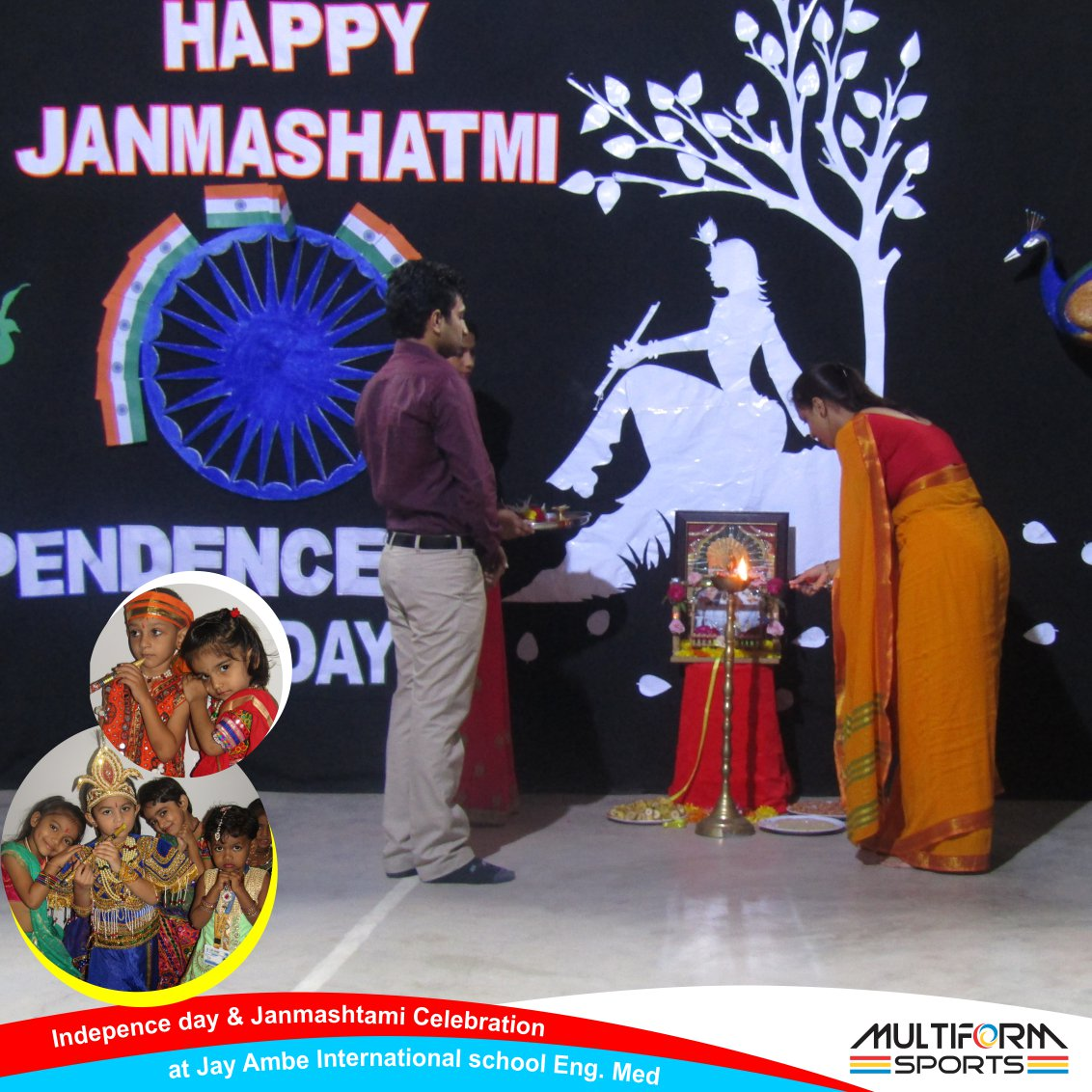 #Indepence day &amp; #Janmashtami Celebration done at #JayAmbeInternationalschool Eng. Med under event management of #Multiform Sports<br>http://pic.twitter.com/wQyjPusuEQ