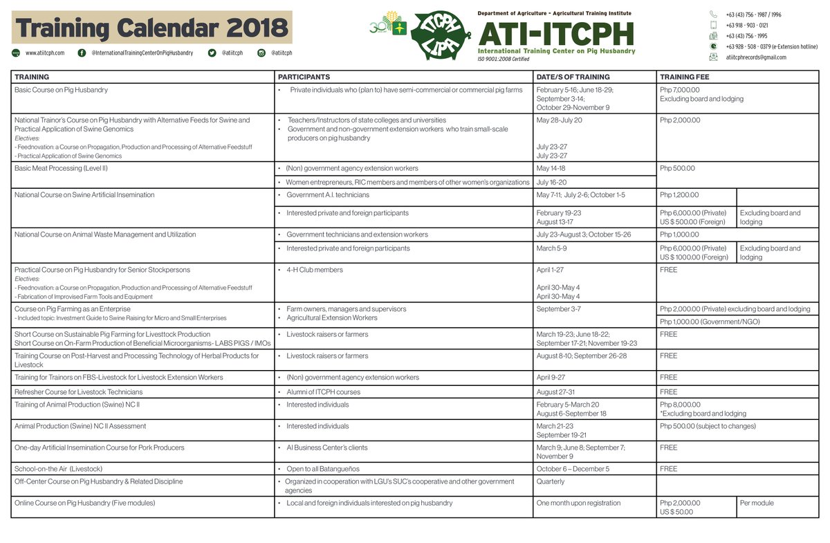 Ati Itcph On Twitter 2018 Itcph Training Calendar Is Now Available