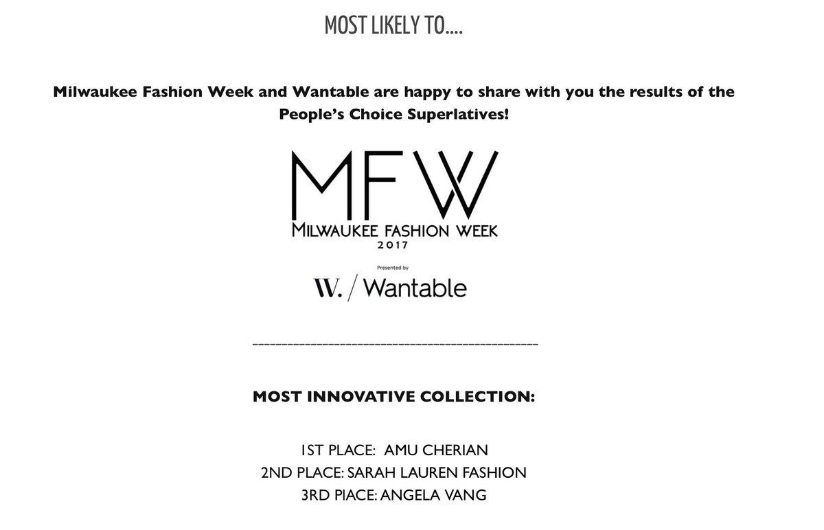 I won!! I won!! I won!! Cannot believe it #firstaward #mostinnovative #fashionaward #fashionweek #sustainablefashion #MadeInAmerica @MKEFW<br>http://pic.twitter.com/dyHy4rw18Q