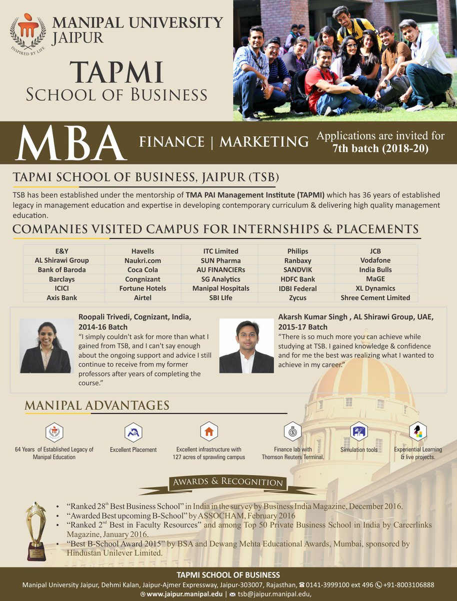 TAPMI School of Business announces admission open in MBA for its 7th batch (2018-20). #MUJ #TSB #MBA #excellentplacements #bestuniversity<br>http://pic.twitter.com/CNyO8tpENM