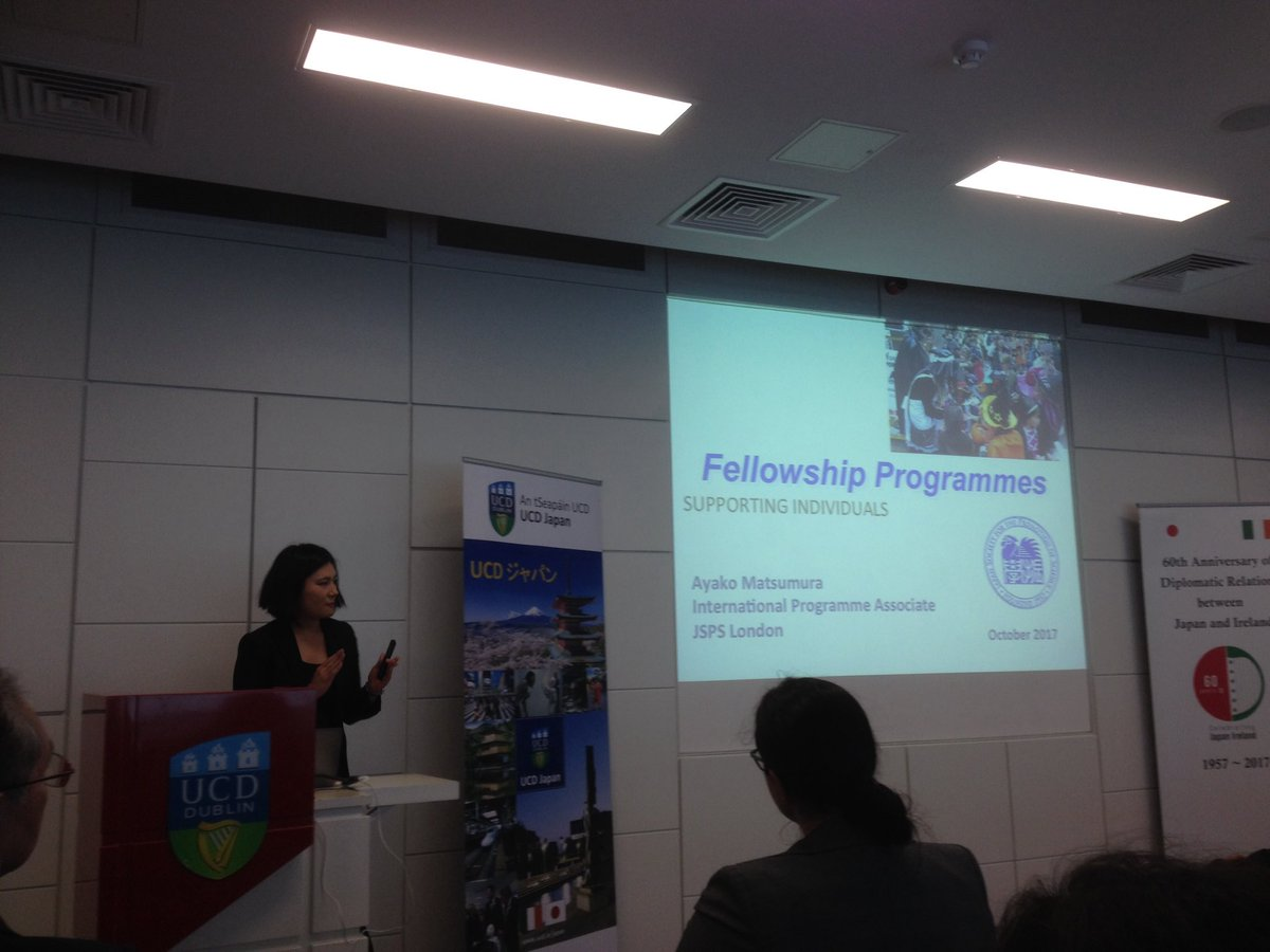 Ms Matsumura speaking about #JSPS Fellowships and how they work. @jsps_sns #IrlJpn60<br>http://pic.twitter.com/MaVwhEQrk8