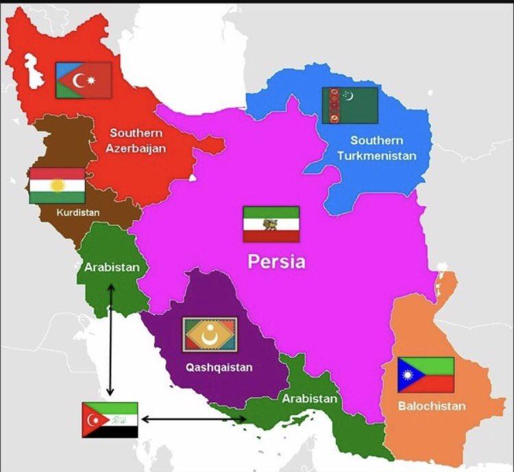 #كردستان #بلوشستان #عربستان اقليات في #ايران الدوله #الشريفه بعد تحررها  وانفصالها ستكون دوله #الفرس #طهران وضواحيها فقط .pic.twitter.com/5CsdcPFlZl