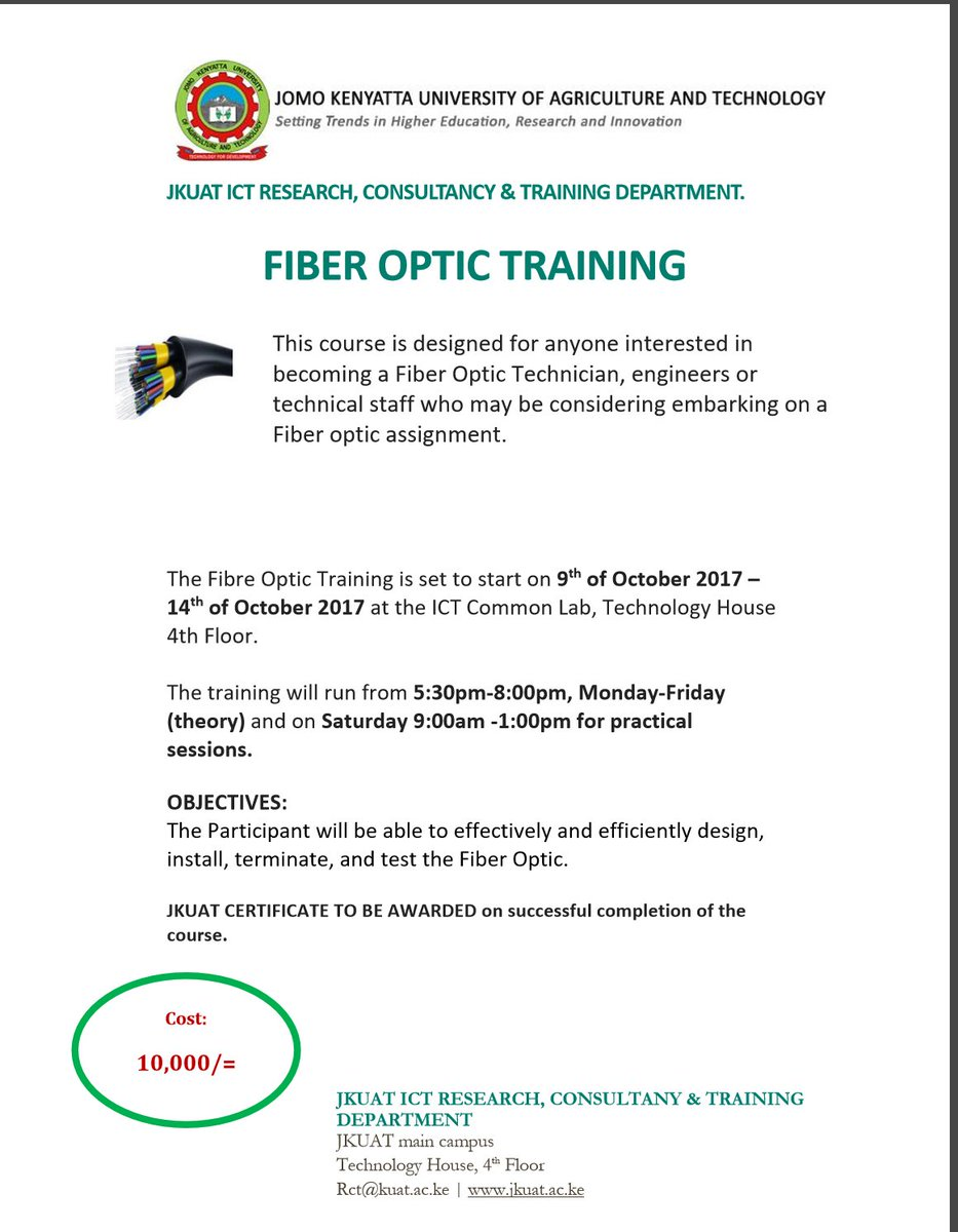 Discover Jkuat On Twitter An Intensive Fiber Optic Training For
