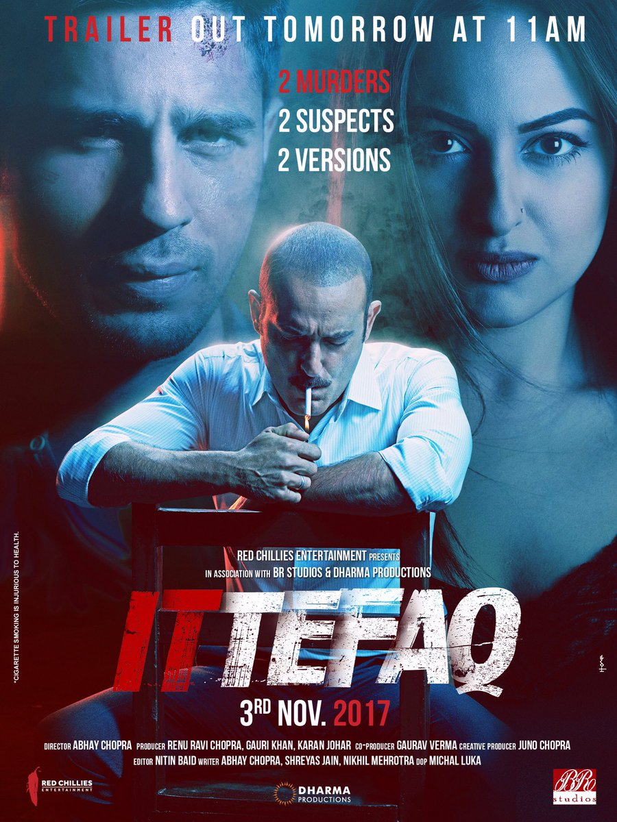 Every crime has suspects and every suspect has a story!   #IttefaqTrailerTomorrow at 11AM   @S1dharthM @sonakshisinha #AkshayeKhanna