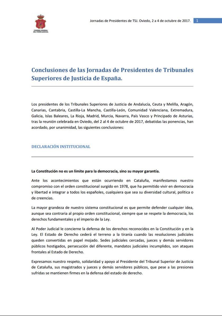 Declaración institucional de los presidentes de los Tribunales Superiores de Justicia sobre #Cataluña https://t.co/nzTfDtSg4e