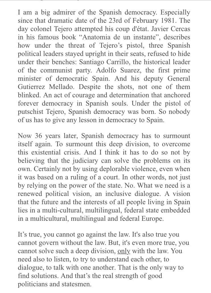 Aquí, el discurso íntegro de @GuyVerhofstadt. Seguramente el mejor del día en la Eurocámara. Lean con calma https://t.co/QdOV6ZdN54