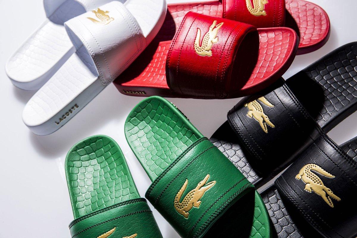 289ea19c0083 Lacoste fraisier croc mens slide on sandals (black gold) - scoopnest.com
