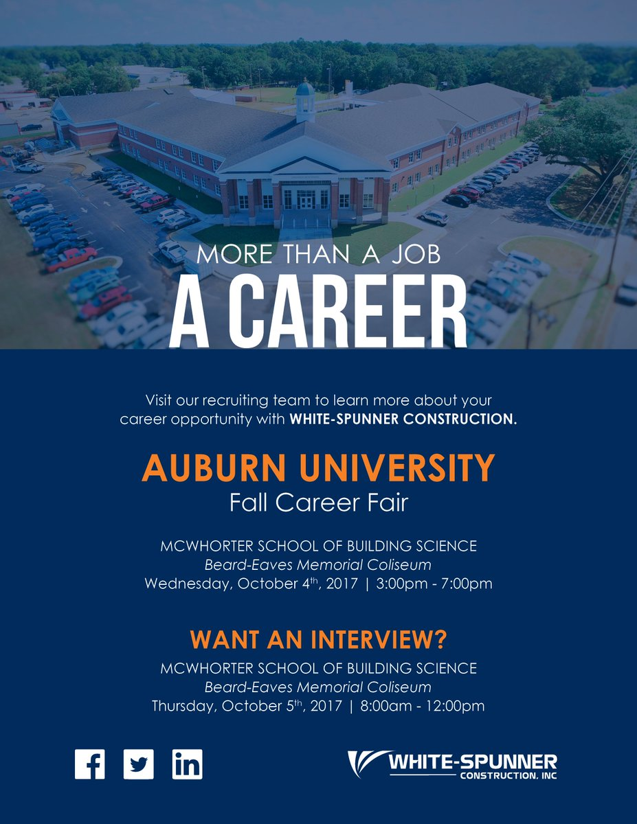... the Auburn University Fall #Career Fair today! We'll be there 3pm-7pm! #careerfair #construction #interview #oppurtunity #job… https://t.co/wTEoU8dLgW