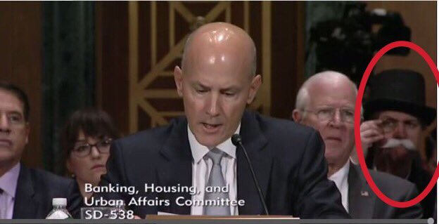 There is someone dressed like the Monopoly Man at the Senate Equifax hearing.