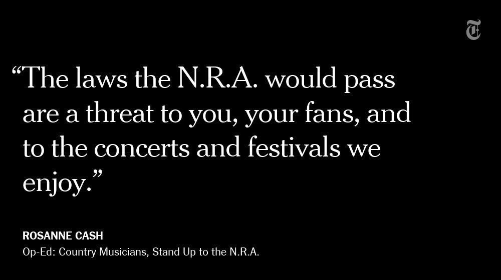 'There is no other way to say this: The N.R.A. funds domestic terrorism.' — Rosanne Cash https://t.co/aUKsmPpujg