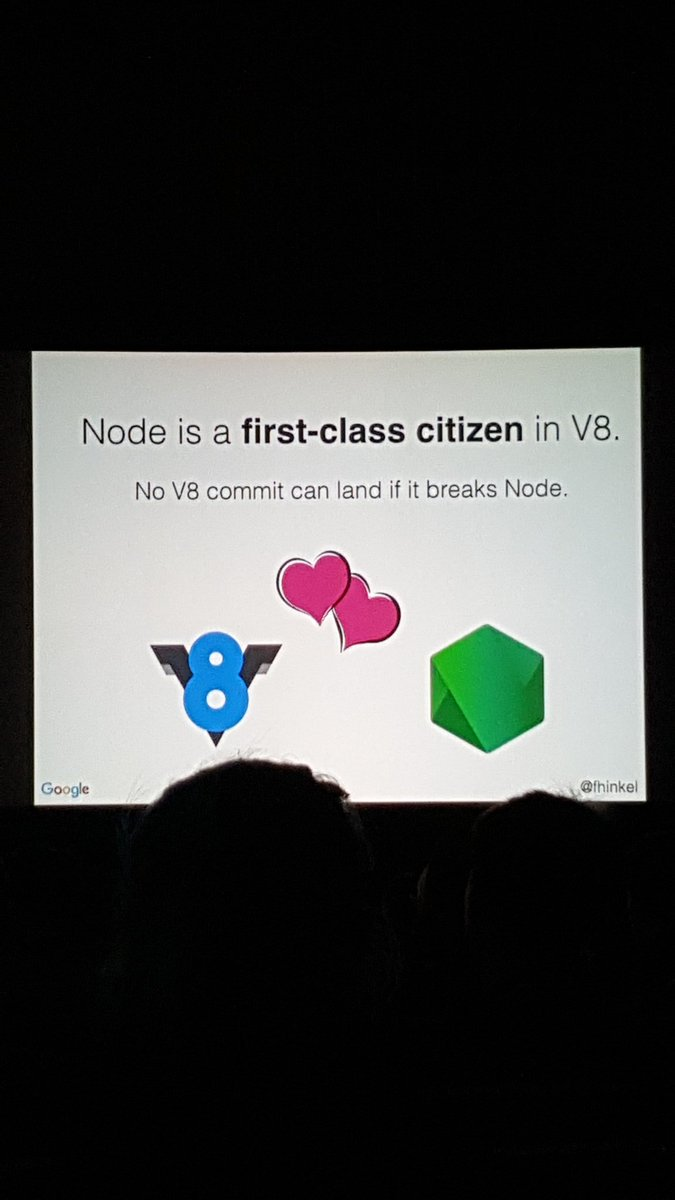 Node is a first-class citizen in V8 - @fhinkel #NodeInteractive https://t.co/eku016MnWS