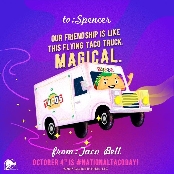 RT @tacobell: @spencerpratt Happy #NationalTacoDay, Spencer. Come thru later? https://t.co/0rI8PIo8Ec