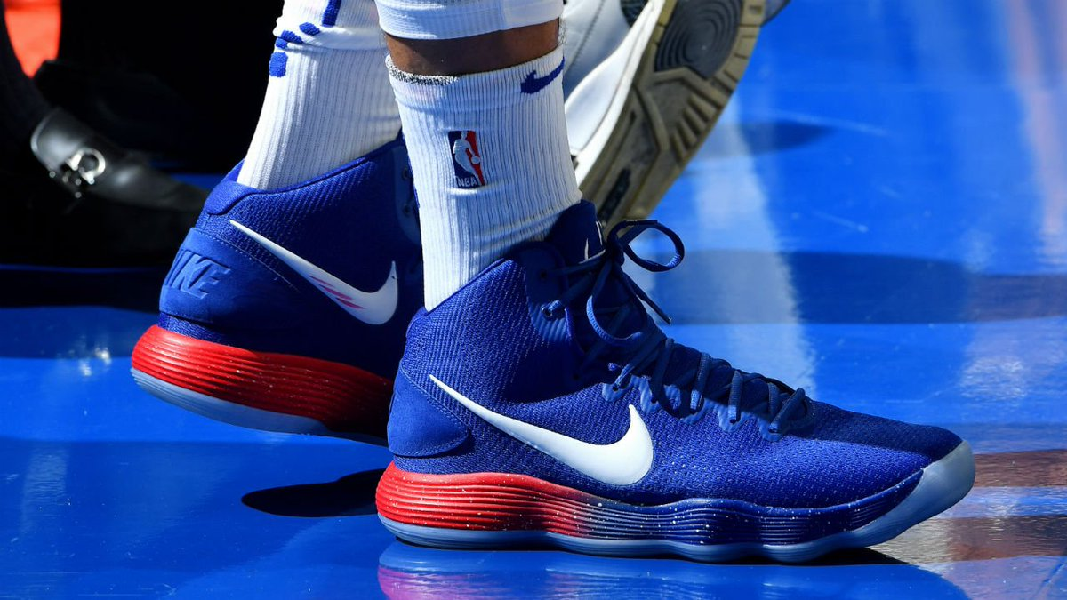 030aca14db0b Ben Simmons rocking the Nike Hyperdunk in the  Sixers colourway ...
