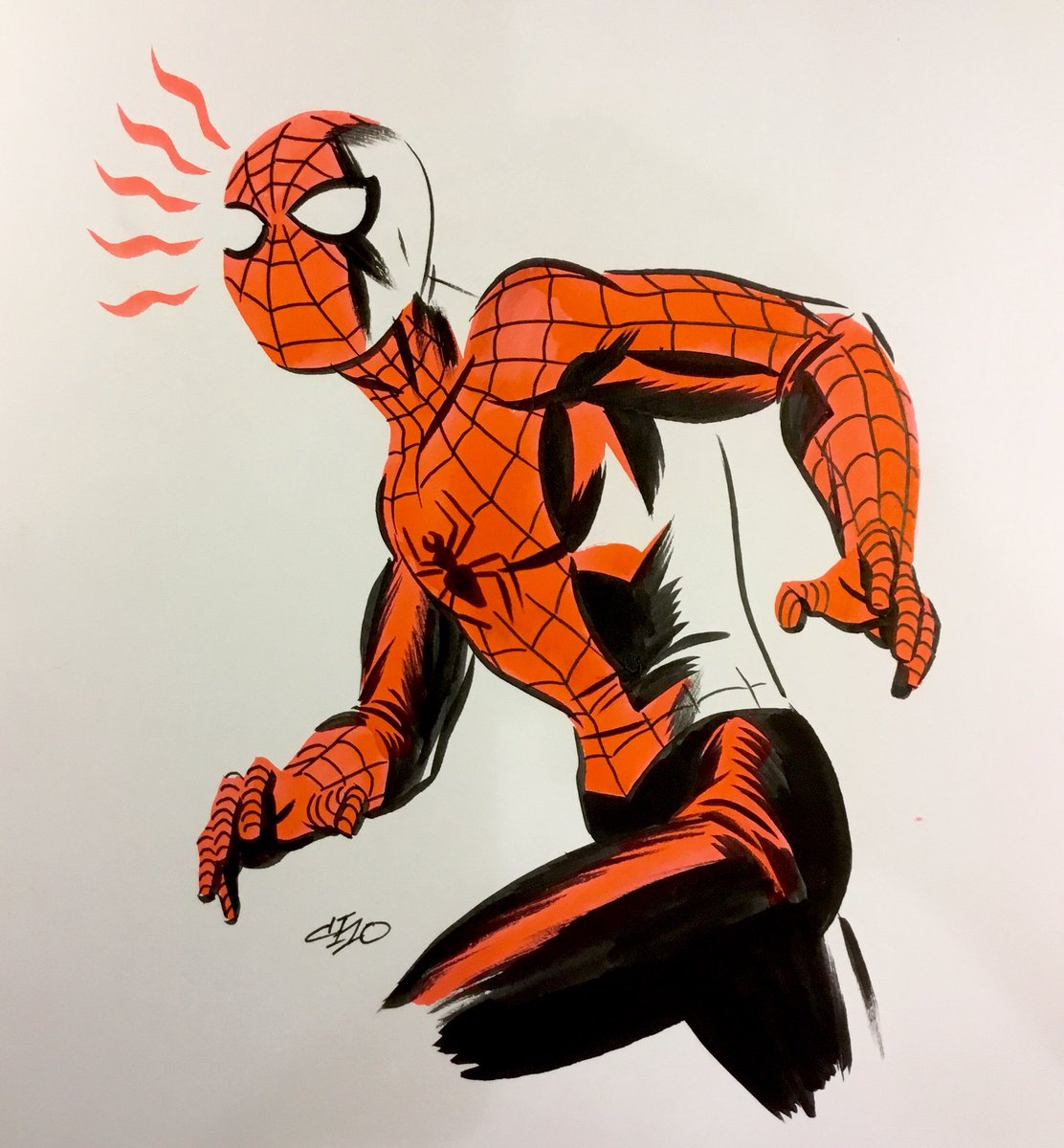 Spider-man, in ink and Dr. Martin dyes. https://t.co/V3re7zP5Av