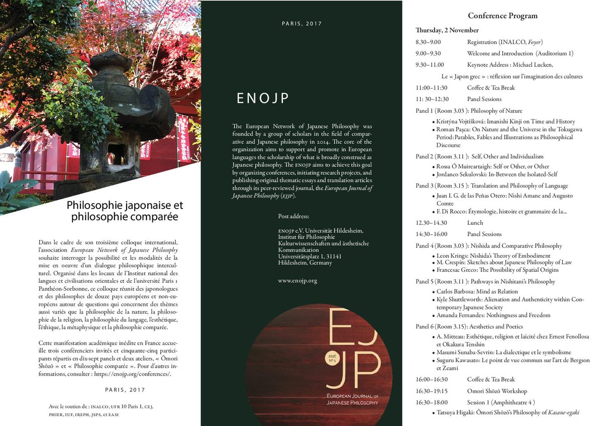 The ENOJP Conference brochure is out ! @CEJ_inalco @SorbonneParis1 @UParisNanterre #IRePh #JSPS @EASt_ULB @Inalco_officiel @UCAuvergne<br>http://pic.twitter.com/NAu7bsGsk4
