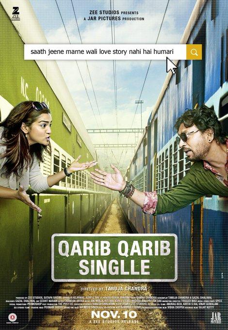 Saath jeene marne waali love story nahi hai humari . #QaribQaribSinglleTrailer out tomorrow! #Parvathy @QQSTheFilm @ZeeStudios_ @JarPictures https://t.co/fYqc2P02M0