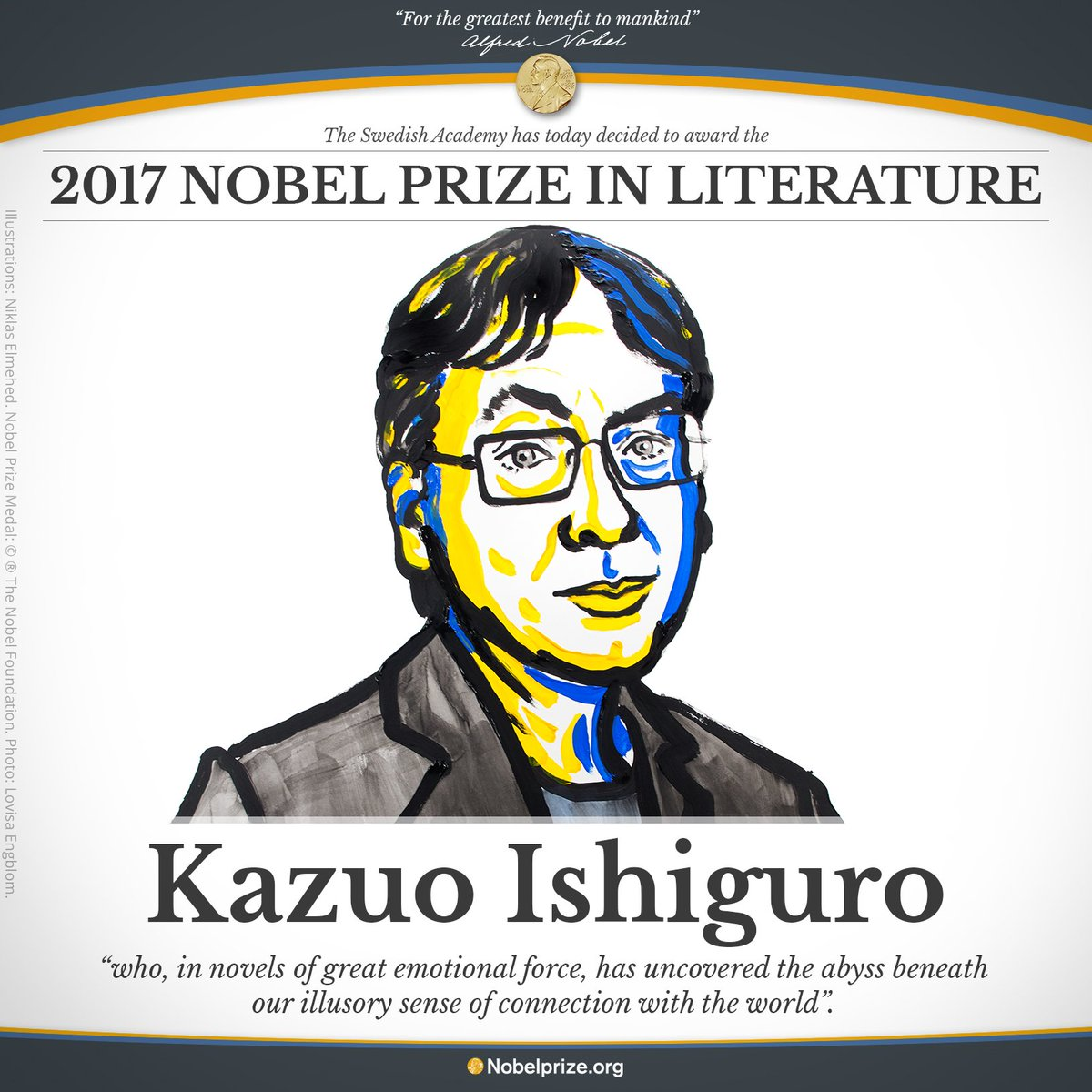 BREAKING NEWS The 2017 #NobelPrize in Literature is awarded to the English author Kazuo Ishiguro