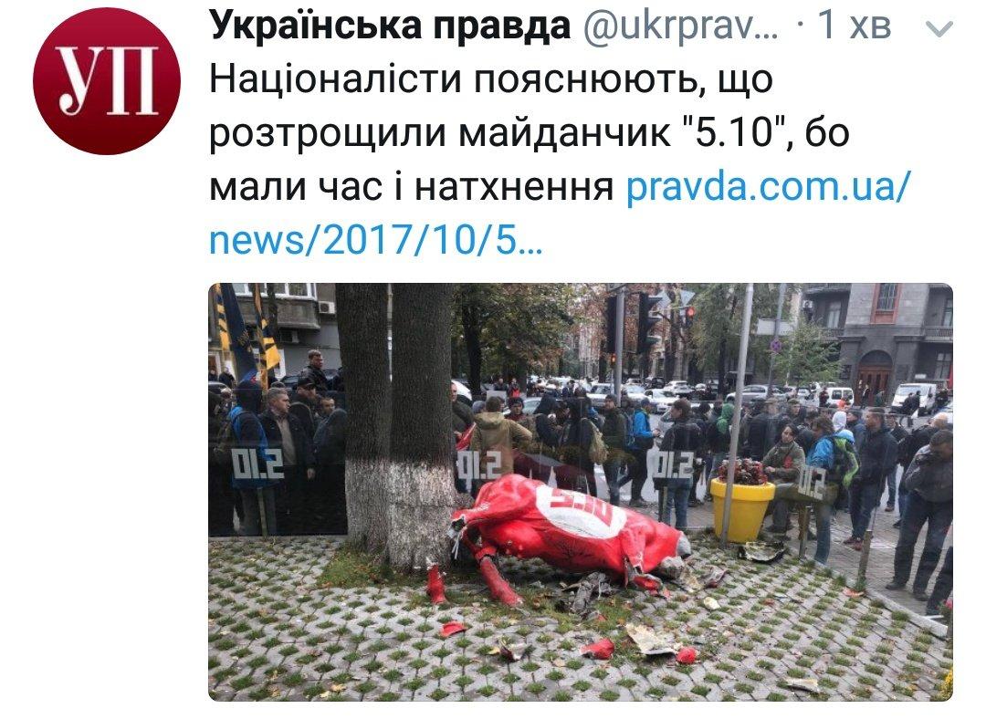 """Активисты """"Национального корпуса"""" разгромили рекламные сооружения у входа в офис партии """"5.10"""" в центре Киева - Цензор.НЕТ 3227"""