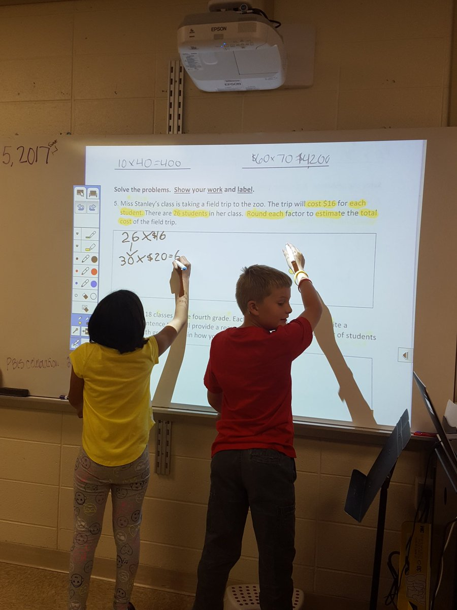 Using the interactive board to collaborate and solve math problems.  #ccs118life