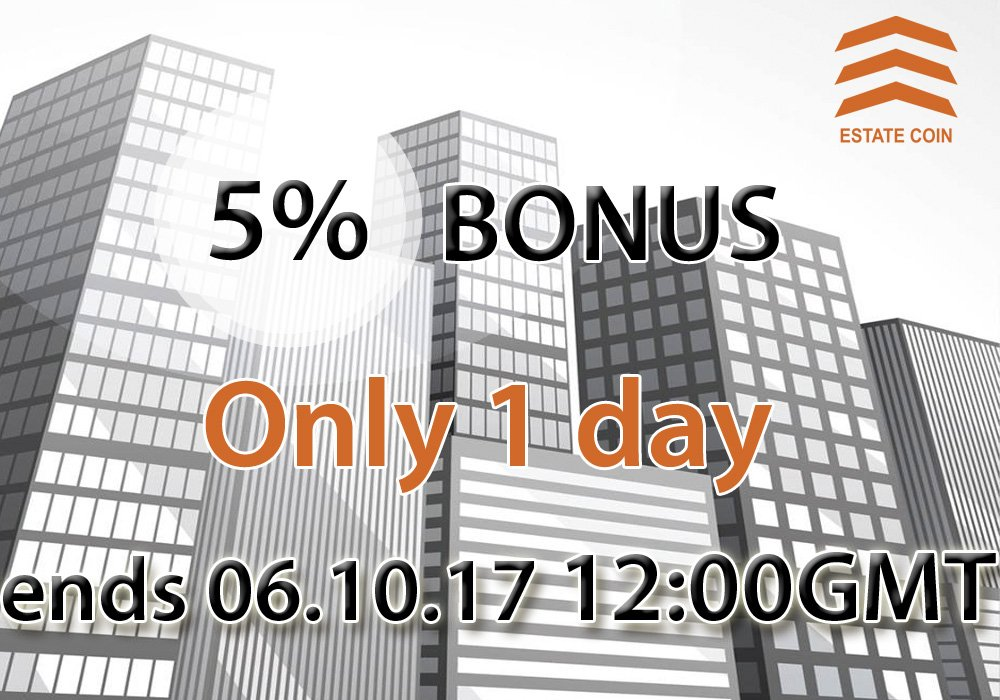 New #crowdsale on a new #SmartContract LIVE! You can get 5% bonus! The offer is valid until October 6 up to 12:00GMT. #EstateCoin #ICO #ICOs<br>http://pic.twitter.com/cUlSnW0vgT