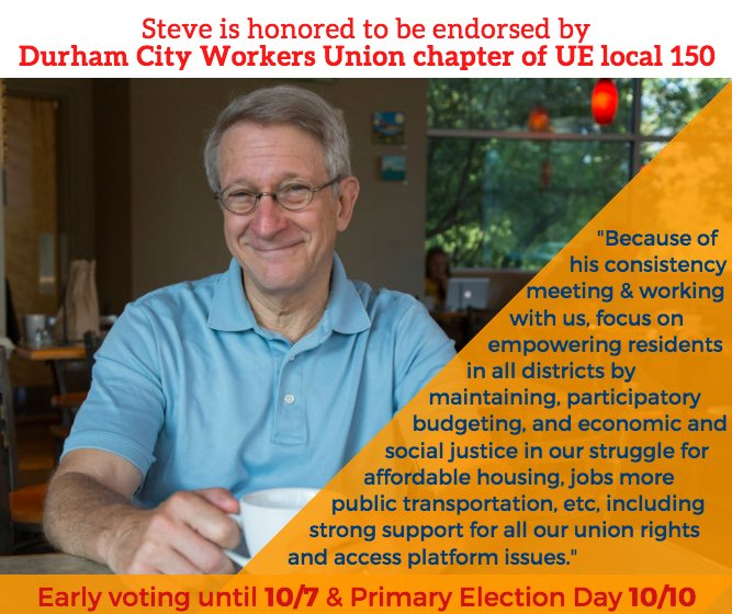 Steve Schewel On Twitter Honored To Be Endorsed By Durham City
