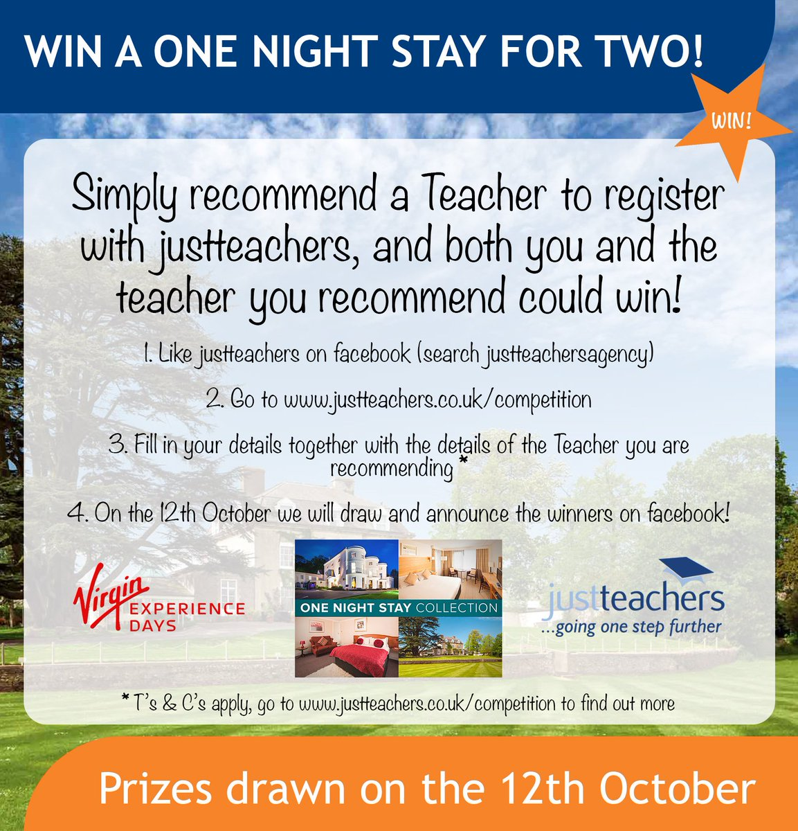 test Twitter Media - #WorldTeachersDay COMPETITION TIME! Recommend a teacher to register with us & you could win a one night stay for two!https://t.co/asTm5ciS55 https://t.co/jwza8yO8jM