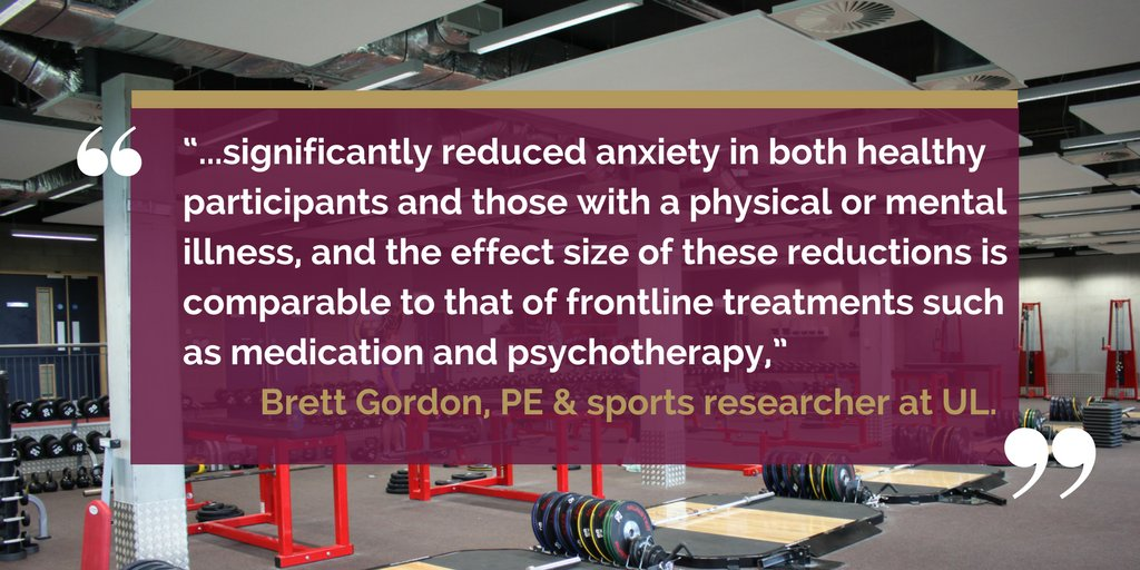 Research from UL shows &quot;Resistance exercise linked to reduced anxiety&quot; via @Reuters #ResearchAtUL Read here --&gt;  http:// ow.ly/UTMF30fFyFg  &nbsp;  <br>http://pic.twitter.com/0A09xk1ghW