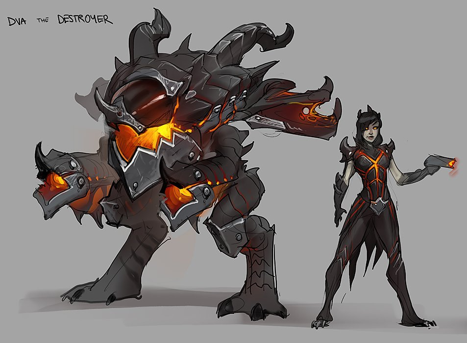 heroes of the storm on twitter d va the destroyer concept art tbt