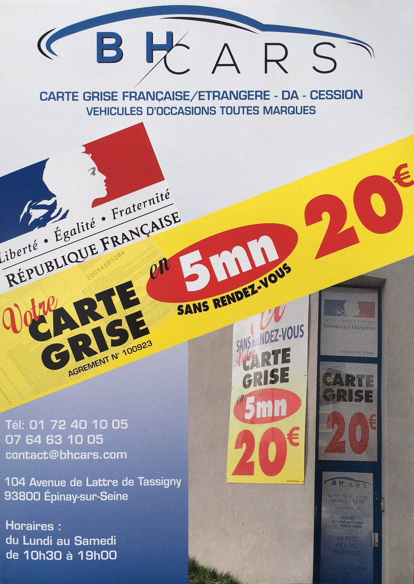 Carte Grise Minute.Bh Cars On Twitter Carte Grise Minute A Epinay Achat