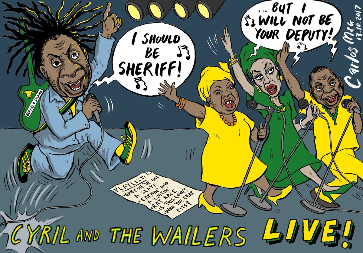 #Cyril channels Bob Marley in this week&#39;s @mailandguardian cartoon #ANCdecides #ramaphosa #NDZ #ZweliMkhize #LindiweSisulu<br>http://pic.twitter.com/767yBBmoq2