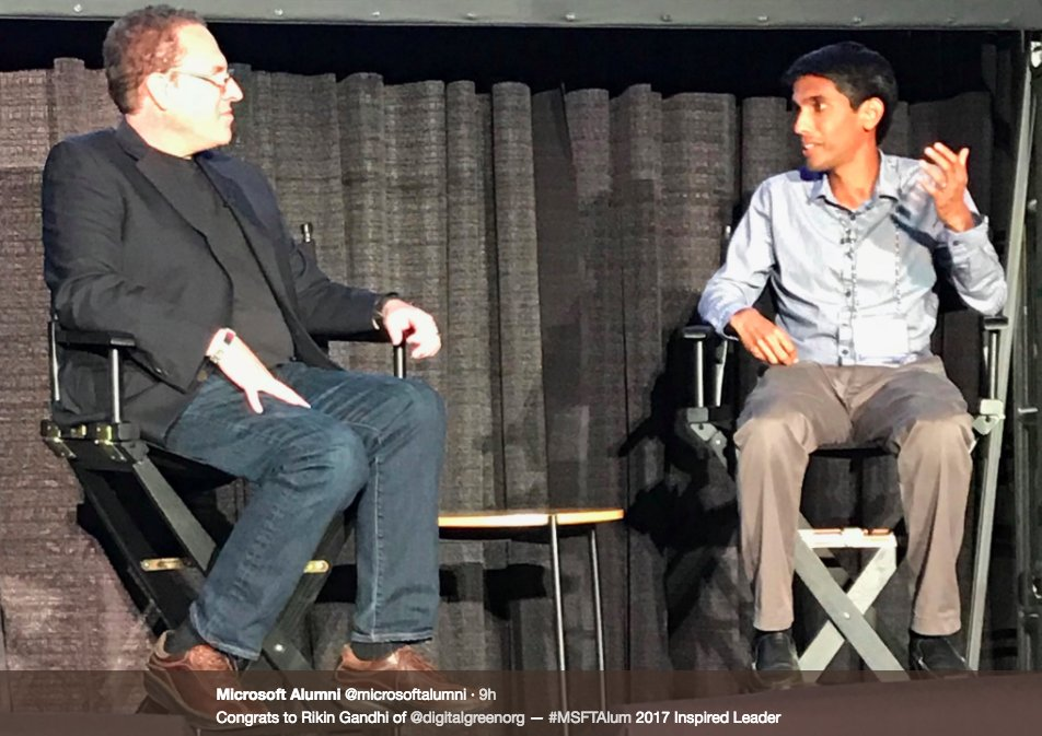 Our founder, Rikin Gandhi was chosen as an inspired leader at #MSFTAlum 2017 Learn more about the event here:  http:// bit.ly/2x6JOTp  &nbsp;  <br>http://pic.twitter.com/mAGvd9gtvY