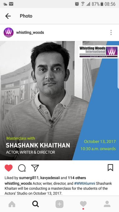 proud of our alumni shashank Khaitan writer director of 2 hit films Humty n Badrinath @Whistling_Woods with students https://t.co/OTC506ZyOX