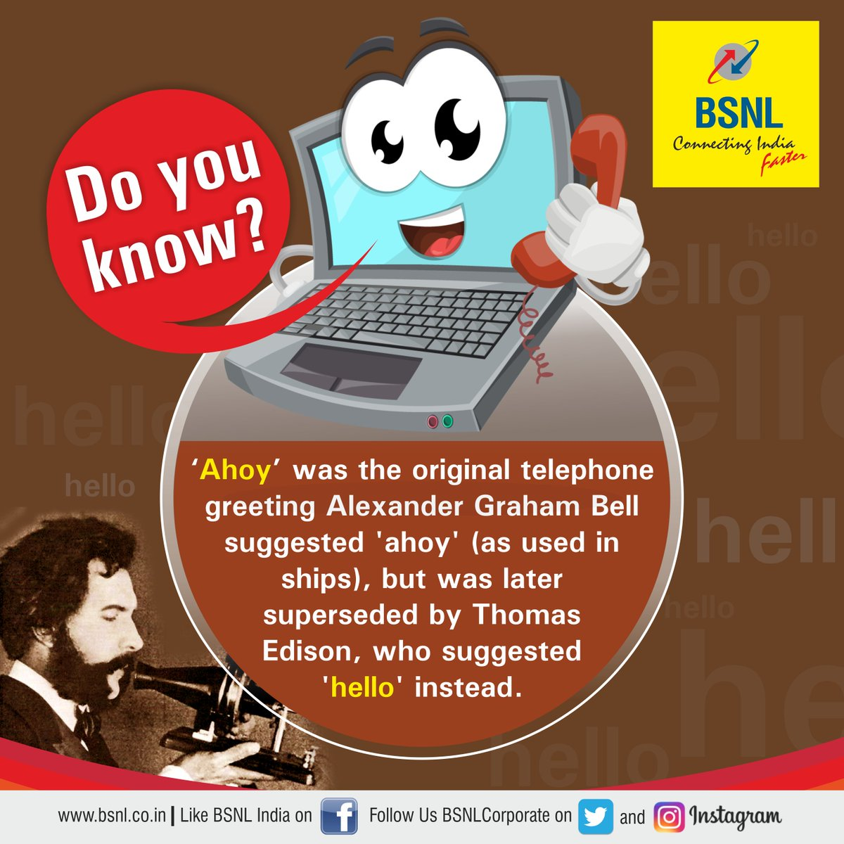Bsnl india on twitter ahoy was the original telephone greeting dlqaoouqaa24mog m4hsunfo