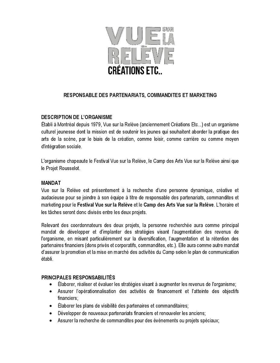 Camp Des Arts On Twitter Offre D Emploi Vue Sur La Releve
