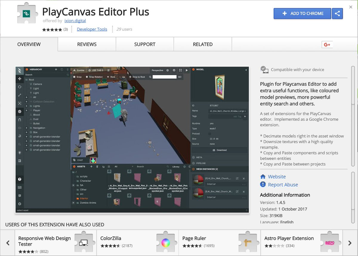 Ixion's @mike_talbot releases the 'PlayCanvas Editor Plus' Chrome  Extension. Plugins/extensibility === good thing. ...