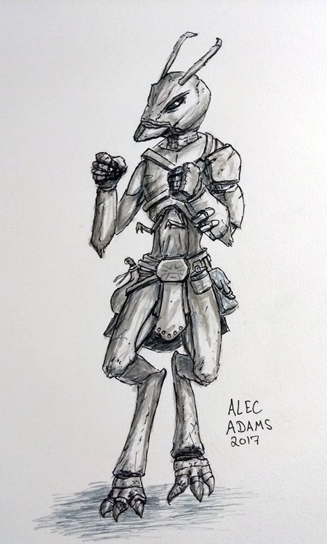 Day 5 of #Inktober. I rolled up an Udari #Brawler! What's an Udari? A  home-brew #Bugfolk race that I use in my #pathfinder campaign setting<br>http://pic.twitter.com/FnPfWqzm2w