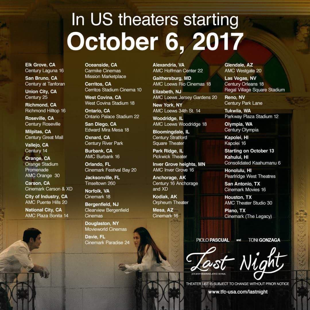 Toni Gonzaga Online On Twitter Last Night Is Showing In Us And