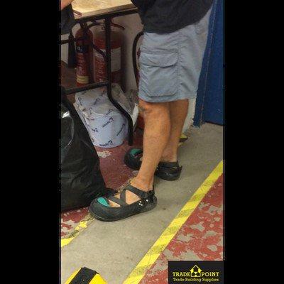 Steel toe flip flops? 🤔 #BootsPlease