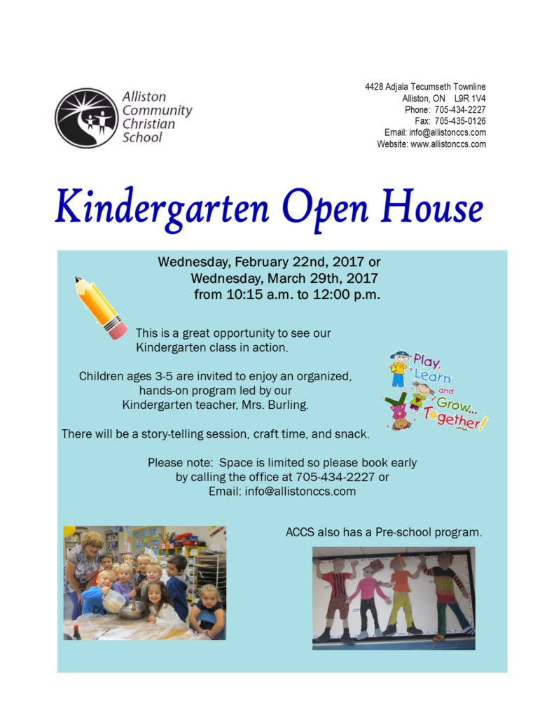 Kindergarten Open House 2017