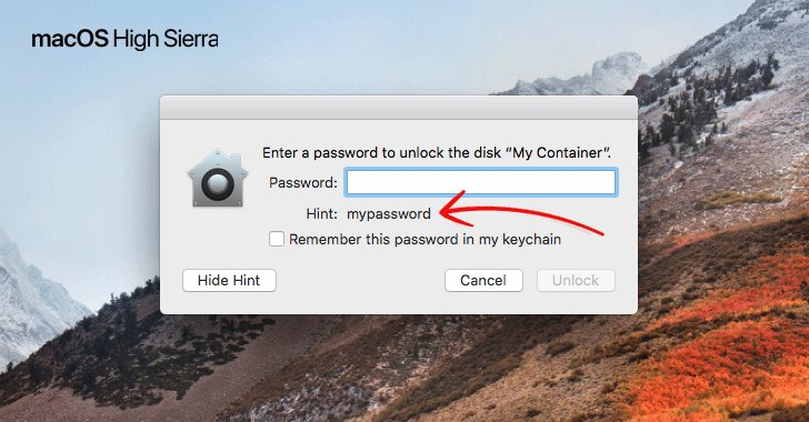 Serious Bug in Apple macOS High Sierra Exposes 'Original Password' of Encrypted APFS Volume As 'Password Hint' https://t.co/nst2v4aRNF