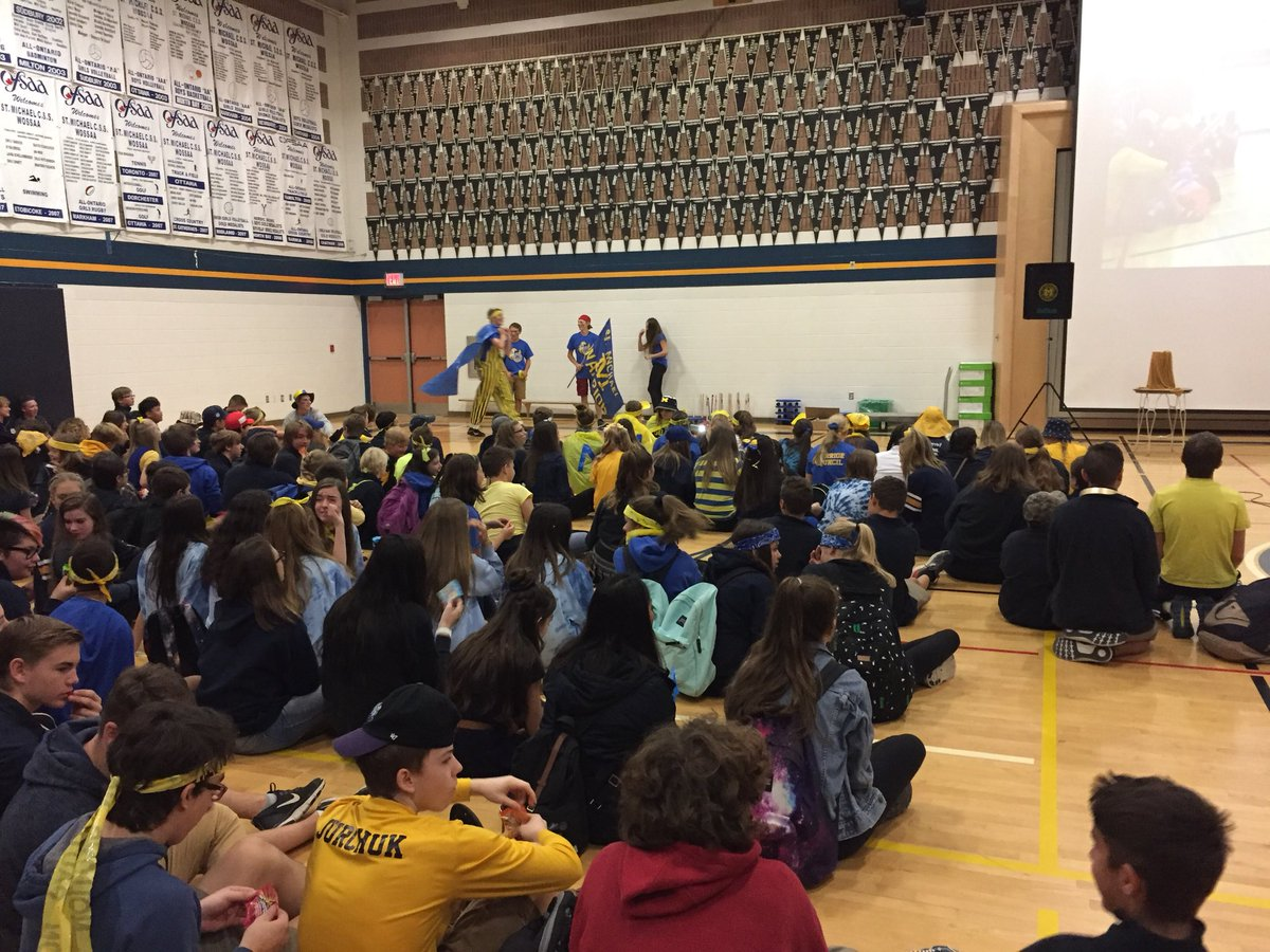 It's #blueandgold day @StMikesCSS @MascotMikey #M4M  Have fun warriors. @HPCDSB<br>http://pic.twitter.com/ZQ7jHH8eZ0