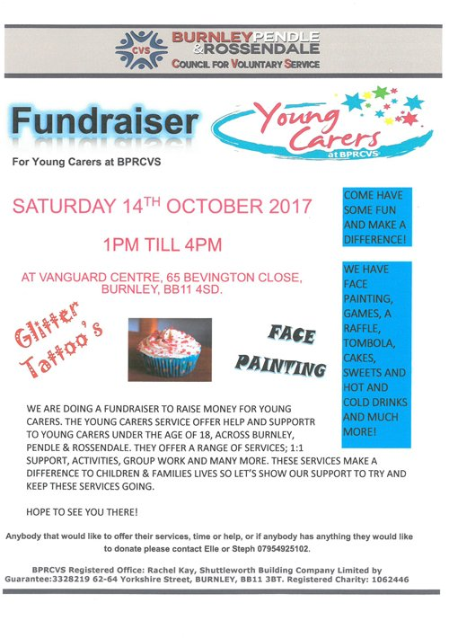 Come to @YoungCarersBPR #fundraiser for #fun #cakes #games #sweets #competitions #prizes &amp; much more Oct 14th 1-4pm Vanguard Centre #Burnley <br>http://pic.twitter.com/skO6eZ2ObR