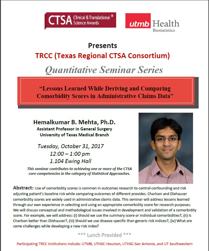 """""""Lessons Learned While Deriving/Comparing Comorbidity Scores in Admin Claims Data"""" on campus 10/31 - Dr. Mehta #CTSA  https:// utmb.us/281  &nbsp;  <br>http://pic.twitter.com/F8pWby5zNm"""
