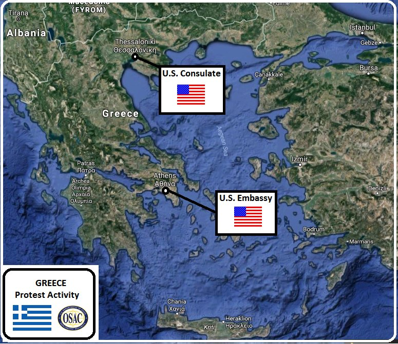 OSAC On Twitter Security Message From US Embassy In Greece - Us embassy athens map