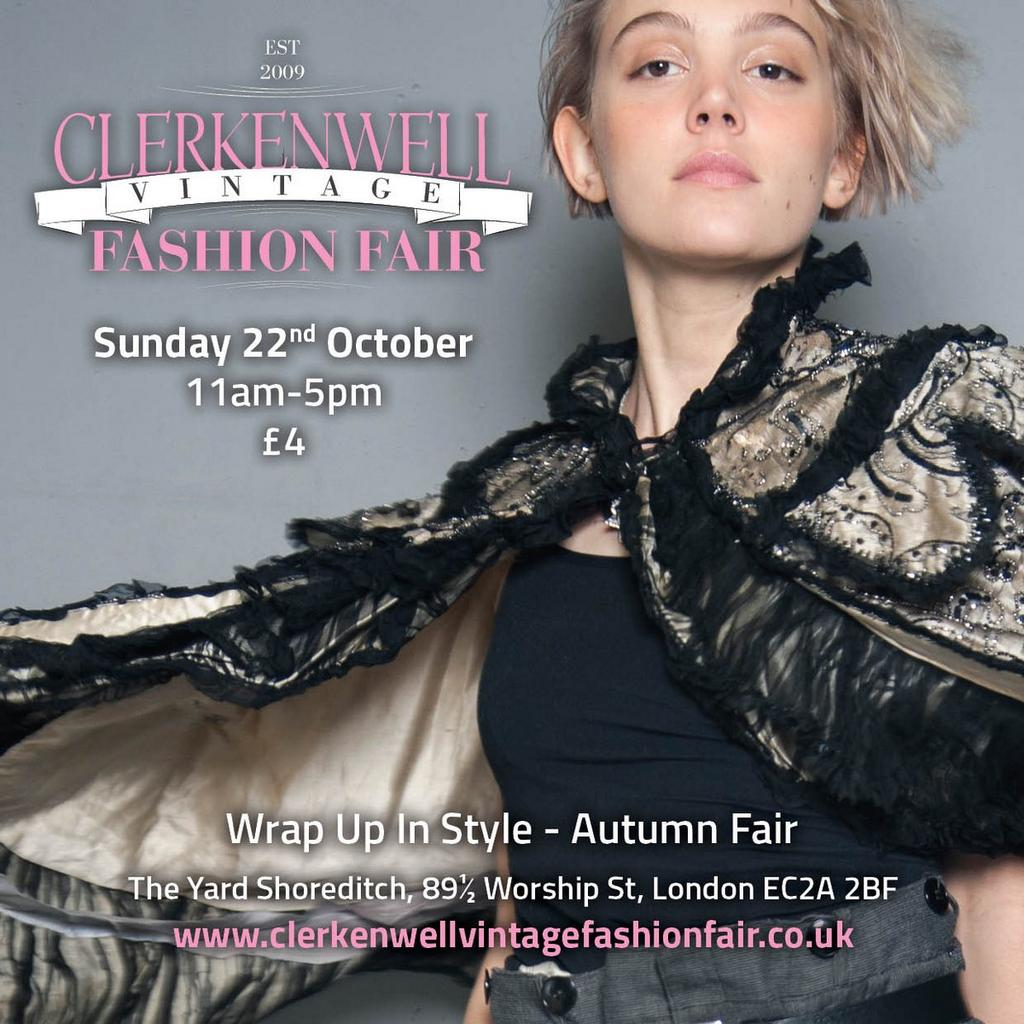 Got your tickets? @BillettoUK  http://www. clerkenwellvintagefashionfair.co.uk/autumn-fair-22 nd-october/ &nbsp; …  #londonevents #vintagefair #fashionresource<br>http://pic.twitter.com/VKx0GABryu