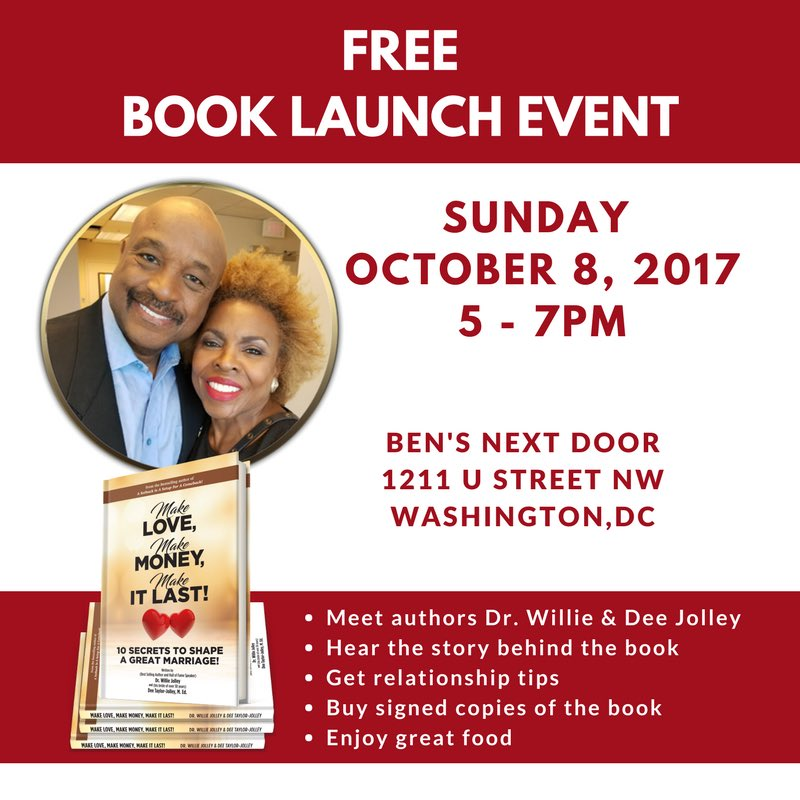 Get #relationship tips &amp; join me, @WillieJolley &amp; @deetaylorjolley at their BOOK LAUNCH party @bensnextdoor this Sunday at 5 pm ET #DCevent <br>http://pic.twitter.com/KUtHGcxRdj