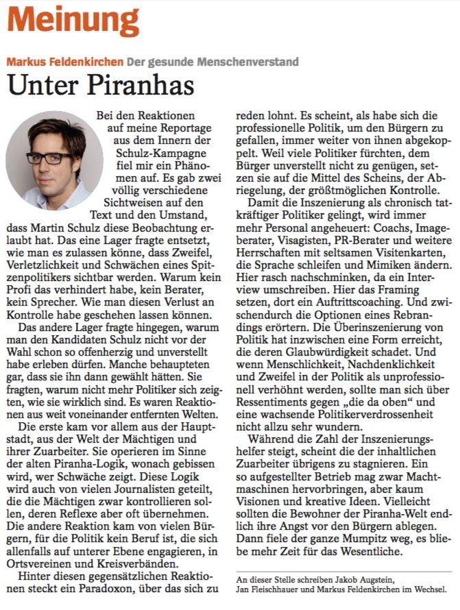 Kollege @MFeldenkirchen über die Reaktionen auf seine Reportage zu Kanzelkandidat Martin Schulz.